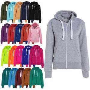 Women Ladies Plain Zip Up Sweatshirt Fleece Hoody Coat Jacket Top Hoodies