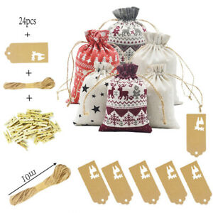 24PCS Christmas DIY Advent Calendar Countdown Numbers Bag Candy Storage Pouch