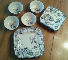 222 Fifth Adelaide 12 Piece Dinnerware Set in Blue, Service for 4 Plates Bowls