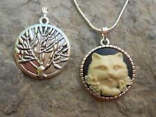 KITTY CAT CAMEO NECKLACE--TREE OF LIFE ON REVERSE-- QUALITY!!! 925 PLATE CHAIN!!