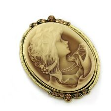 Antique Vintage Replica Style Light Brown CAMEO Brooch Pin Women Fashion Jewelry