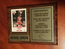 Michael Jordan Wood Card Plaque Career Highlights 1986 92 Chicago Bulls Olympic