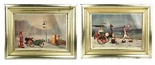 TWO Framed Vintage Alfano Dardari Print Watch Out Safety First Clown Art Prints