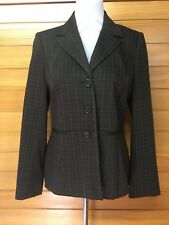 💋Sportscraft Sz 10 Jacket Brown With Horizontal And Vertical Stripes Wool Blend