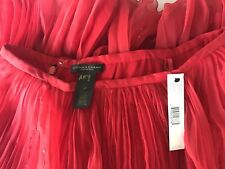 NEW DONNA KARAN SIGNATURE RED CHIFFON HANDSEWN BEADED SKIRT 4 $1220.00