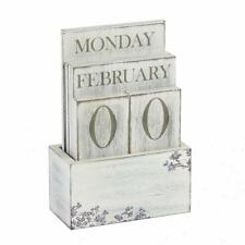 Vintage Style Rustique Motif Floral Blanc Calendrier Perpétuel Bloc in box 69217