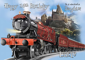 Hogwarts Express Harry Potter personalised A5 Birthday card - AGE RELATION NAME