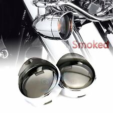 US 1Pair Turn Signal Visor Ring Kit Smoked Lens Cover For Harley XL883 XL1200 48