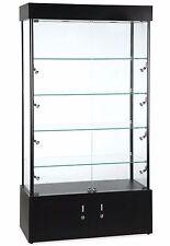Rectangular Glass Tower Showcase Halogen Light 4 Shelves Display Case Black New