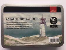 Aquarell - Postkarten 24 Blatt A6 - 300 g/qm, elegante Blechdose + A5 Klemmbrett