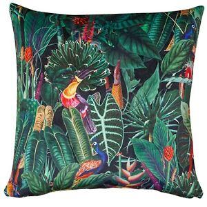 """Lima Jungle Birds Velvet Cushion. Deep Green. Plain Black Velvet Backing. 17"""" Sq"""