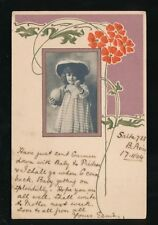 Argentina part printed added girl photo Art Nouveau style used 1904 u/b PPC