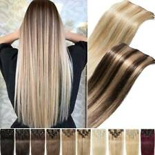 CLEARANCE Clip in 100% Real Human Hair Extensions Full Head Highlight Blonde US
