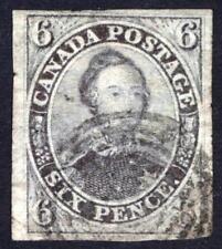 Canada 1851 6d Slate Violet, Laid Paper, SG 2 Scott 2, FU, Cat £1,300($1,729)