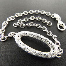 S/F Cuff Diamond Simulated Design Bracelet Bangle Genuine 925 Sterling Silver
