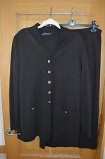 Louis Feraud Brown 3 Piece Knit Merino Wool Suit Cardigan Top & Skirt 18 - 20