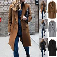 Womens Winter Lapel Wool Coat Trench Jacket Big Pocket Overcoat Outwear