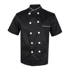 Us Women Men Chef Jacket Coat Short Sleeve Kitchen Restaurant Waiter Uniform