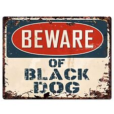 PP2351 BEWARE OF BLACK DOG Plate Rustic Chic Sign Home Gate Door Decor Sign