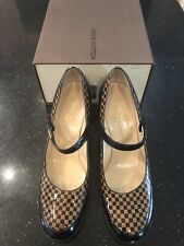 LOUIS VUITTON LADIES BROWN/BLACK DAMIER CHECK MARY JANE PUMPS SHOES 36.5 UK 3.5