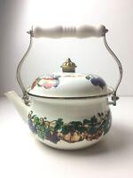 Tabletops Unlimited Kensington Garden Teapot Kettle Fruit Motif Enamelware 7 cup