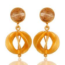 Rutile Quartz Gemstone Dangle Earrings 925 Silver Unique Designer Jewelry