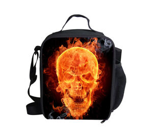 College Boys Insulated Lunch Bag Skull Designs Shoulder Storage Bags Bento Box