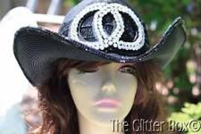 Whittall & Shon Western Cowgirl Hat Black Rhinestones Sequins Women's Hats
