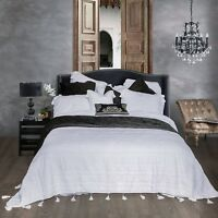 Country Beach Chic Shabby White Tassel 100% Cotton Quilt Bedspread Coverlet Set
