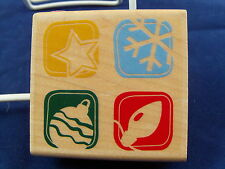 NEW INKADINKADO WOOD MOUNTED RUBBER STAMP ORNAMENT STAR SNOWFLAKE BULB 95897 344