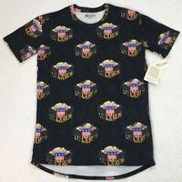 LuLaRoe Patrick T Women's Tunic Top XS Blue W/ American Flag Patriotic July 4th