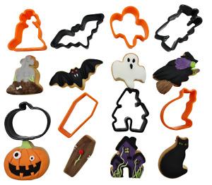 8 X Halloween Shaped Cookie / cake Cutters CAT GHOST BAT PUMPKIN HOUSE