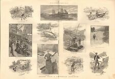 1887  ANTIQUE PRINT -  LEAVES FROM A NORWEGIAN NOTEBOOK - SALMON FISHING