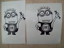 ( 2 ) MINIONS FIAT CAR,Decals Sticker,minions JMD JOKE FUN WINDOW BUMPER MIRRORS