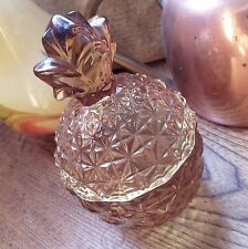 Kitsch Amber Tinted Molded Glass Pineapple  Lidded Candy Dish/jar.