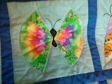 Handmade quilt butterflies paisley - pinks blue flowers - Sylvia Webster