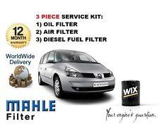Para Renault Espace 1.9DCi 2002-- > 3 Set de Filtro Aceite, Aire y Combustible