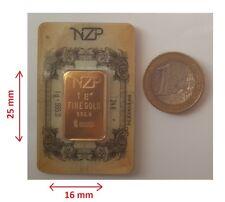 1 gram gold bar BIG SIZE SPECIAL DIAMENSION  24K NZP gold ,995 Fine pure gold