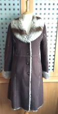 """NEXT - Long Silver Grey Faux Fur Lined Brown Suede Effect Coat - UK 8- Chest 38"""""""