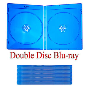 5 Blu-ray Cases - Double 2-Disc - Standard Blue - with Logo & Sleeve Insert