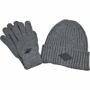 Replay Ribbed Logo Knit Hat & Gloves Gift Set, Grey Melange One Size