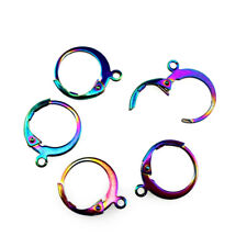2PCS Stainless Steel Rainbow Color Clip Jewelry Accessory Clips Charms