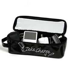 MIAMICA TAKE CHARGE BLACK TRAVEL CHARGER CASE IPOD ORGANIZER STORAGE CELL PHONE