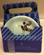 Cynthia Rowley Set 6 RARE Floral Anchor Appetizer Hors D'oeuvre Plates RARE NEW