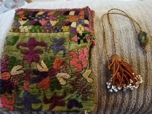 LOVELY VICTORIAN HAND STITCHED EMBROIDERY BAG ,WITH BEADWORK PULL STRING