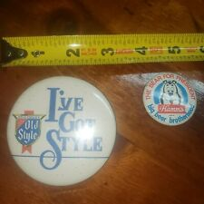 vintage Old Style and Hamm's Beer button badges pinback