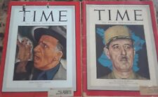 Vintage Time Magazines Lot of 2 January & May 1944 Jimmy Durante and De Gaulle