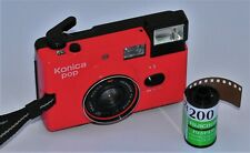 Konica Pop Red Classic Point And Shoot Compact 35mm Camera + Fuji Film