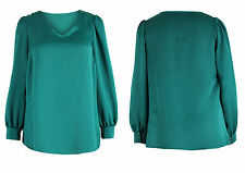 Tunika Gr.44 Longtunika Bluse Tunikabluse grün Satin Satinbluse smaragd