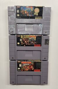 Donkey Kong Country Trilogy 1 2 3 Super Nintendo SNES TESTED!! DK (READ)